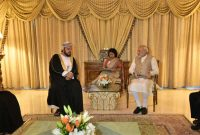 Prime Minister, Narendra Modi meeting the Deputy Prime Minister for International Relations and Cooperation Affairs of Oman, Sayyid Asa'ad bin Tariq Al Said, in Muscat, Oman