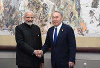 The Prime Minister, Narendra Modi meeting the President of Kazakhstan, Nursultan Nazarbayev