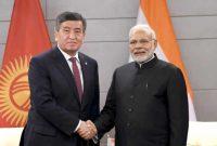 The Prime Minister, Narendra Modi meeting the President of Kyrgyzstan, Sooronbay Jeenbekov