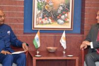 President, Ram Nath Kovind meeting the President of the House of Representatives of Cyprus, Demetris Syllouris