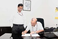 Subhash Chandra Garg handing over charge of the Secretary, Department of Economic Affairs to Atanu Chakraborty