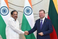 The Vice President, M. Venkaiah Naidu in a meeting with the Prime Minister of the Republic of Lithuania, Saulius Skvernelis
