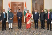 Finance Minister Nirmala Sitharaman , MoS Finance & Corporate Affairs Anurag and senior officials of the Ministry of Finance, called on the President of India, Ram Nath Kovind