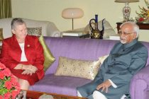 The Ambassador of the United States of America, Nancy J. Powell calls on the Vice President, Mohd. Hamid Ansari,