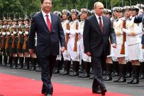 SHANGHAI, May 20, 2014 (Xinhua) — Chinese President Xi Jinping (front L) holds a welcoming ceremony for Russian President Vladimir Putin (front R) before their talks in Shanghai, east China,