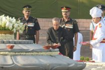 The President of India, Pranab Mukherjee, Paying Homage to Late Shri Rajiv Gandhi on the Occasion of His 23rd Death Anniversary.