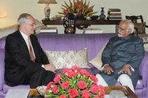 The Ambassador of Kingdom of Belgium in India, Pierre Vasen calling on the Vice President, Mohd. Hamid Ansari,