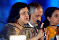 State Bank of India Chairman Arundhati Bhattacharya announces the annual results of the bank for Financial Year 2013-14 in Kolkata.