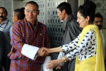 Bhutanese Prime Minister Lyonchen Tshering Tobgay arrives at IGI Airport to attend the swearing-in ceremony