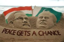 Sand artist Sudarsan Pattnaik's creation depicting BJP parliamentary party leader Narendra Modi who is set to swear-in as prime minister of India and Pakistani Prime Minister Nawaz Sharif