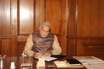 The Prime Minister, Narendra Modi taking charge of the office of the Prime Minister of India, at South Block, in New Delhi on May 27, 2014.