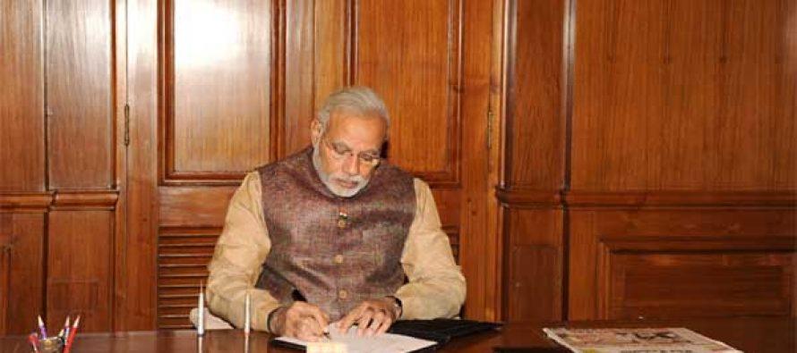 The Prime Minister, Narendra Modi taking charge of the office of the Prime Minister of India, at South Block, in New Delhi on May 27, 2014.