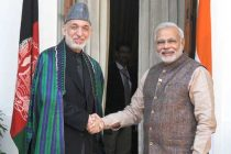 The PM, Narendra Modi with the President of the Islamic Republic of Afghanistan, Hamid Karzai, in New Delhi on May 27, 2014.