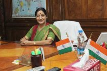 Sushma Swaraj taking charge as the Union Minister for Overseas Indian Affairs, in New Delhi on May 28, 2014.