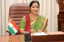 Sushma Swaraj taking charge as the Union Minister for External Affairs, in New Delhi on May 28, 2014.
