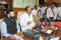 M. Venkaiah Naidu taking charge as the Union Minister for Parliamentary Affairs, in New Delhi on May 28, 2014.