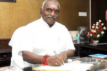P. Radhakrishnan taking charge as the Minister of State for Heavy Industries and Public Enterprises, in New Delhi on May 28, 2014.