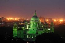 A view of Victoria Memorial lit-up in green light on World Environment Day in Kolkata on June 5, 2014.