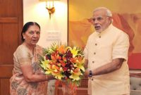 The Chief Minister of Gujarat, Anandiben Patel calling on the Prime Minister, Narendra Modi, in New Delhi on June 09, 2014.