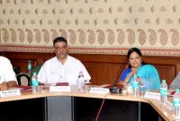 The MoS (IC) for Power, Coal and New and Renewable Energy, Piyush Goyal holding a meeting with The Chief Minister of Rajasthan, Vasundhara Raje, in Jaipur on June 17, 2014.