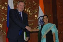 External Affairs Minister Sushma Swaraj with Deputy Prime Minister of Russia, Dmitry O Rogozin during a meeting in New Delhi.