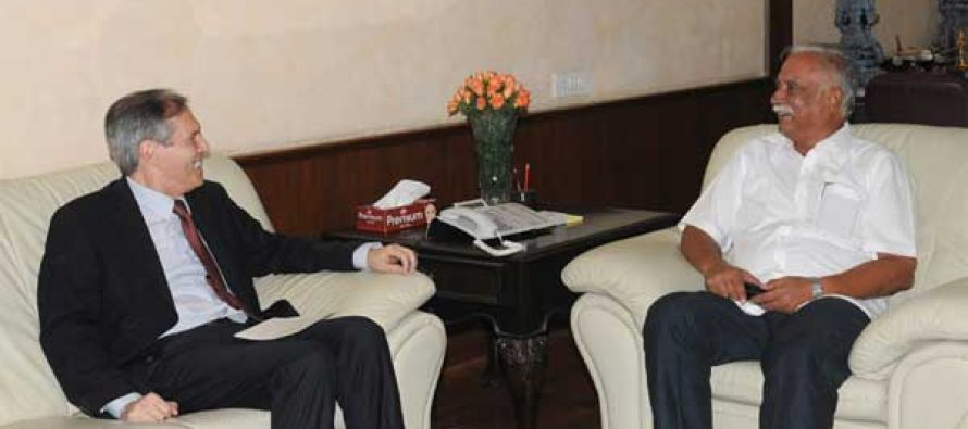 The Ambassador of the Federal Republic of Germany in India, Michael Steiner calling on the Minister for Civil Aviation, Ashok Gajapathi Raju