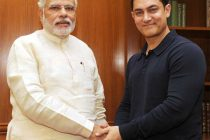 The noted film actor and director, Aamir Khan calling on the Prime Minister, Narendra Modi, in New Delhi on June 23, 2014.