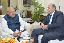 The Ambassador of Tunisia in India, Tarek Azouz calling on the Union Minister for Micro, Small and Medium Enterprises, Kalraj Mishra