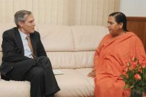 The Ambassador of Germany in India. Micheal Steiner calls on the Union Minister for Water Resources, River Development and Ganga Rejuvenation, Sushri Uma Bharati
