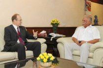 The British High Commissioner to India, James David Bevan calling on the Union Minister for Civil Aviation, Ashok Gajapathi Raju Pusapati
