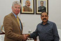 The High Commissioner of Canada, Stewart Beck meeting with the MoS for Science and Technology (IC), Earth Sciences (IC), Prime Minister Office, Personnel, Public Grievances & Pensions, Department of Atomic Energy and Department of Space, Dr. Jitendra Singh