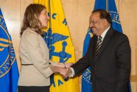 The Minister for Health and Family Welfare, Dr. Harsh Vardhan meeting the United States Secretary for Health and Human Services, Sylvia Mathews Burwell