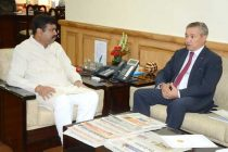 The Ambassador of Kazakhstan in India, Doulat Kuanyshev meeting the MoS (IC) for Petroleum and Natural Gas, Dharmendra Pradhan