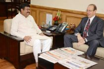 The British High Commissioner to India, James Bevan meeting the MoS (IC) for Petroleum and Natural Gas, Dharmendra Pradhan,