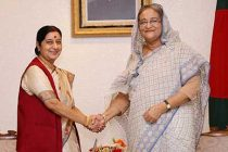External Affairs Minister Sushma Swaraj meets Prime Minister Sheikh Hasina of Bangladesh in Dhaka on June 26, 2014.