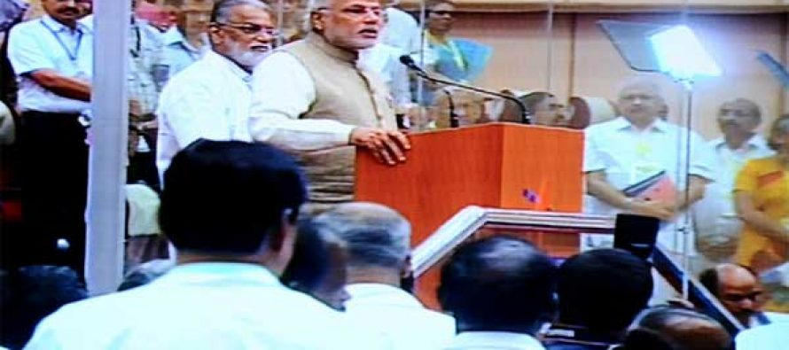 The Prime Minister, Narendra Modi addressing after the successful launch of PSLV – C 23, at Sriharikota, in Andhra Pradesh.