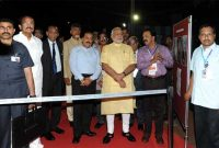 The Prime Minister, Narendra Modi being briefed of the Launch Vehicle, during his visit at First Launch Pad, at Sriharikota,