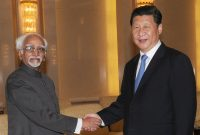 The Vice President, Mohd. Hamid Ansari meeting the President of the People's Republic of China, Xi Jinping, in Beijing