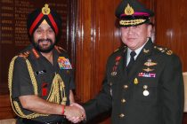 The Chief of Defence Force (CDF) Royal Thailand Armed Forces, General Tanasak Patimapragorn meeting the Chief of Army Staff, General Bikram Singh, in New Delhi on June 30, 2014.