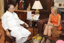 The Queen Máxima van Amsberg of Netherlands calls on the Minister for Finance, Corporate Affairs and Defence, Arun Jaitley