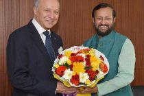 The MoS for Information and Broadcasting (IC), Environment, Forest and Climate Change (IC) and Parliamentary Affairs, Prakash Javadekar meeting the Minister of Foreign Affairs and International Development of France, Laurent Fabius