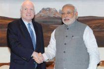 The US Senator, John McCain calls on the Prime Minister, Narendra Modi, in New Delhi on July 03, 2014.