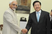 The Ambassador of China to India, Wei Wei, calls on the Vice President, Mohd. Hamid Ansari, in New Delhi on July 04, 2014.
