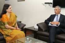 The Ambassador of the EU, Dr. Joao Cravinho calls on the Minister for Women and Child Development, Maneka Sanjay Gandhi