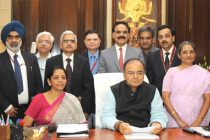 The Minister for Finance, Corporate Affairs and Defence, Arun Jaitley giving final touches to the General Budget 2014-15