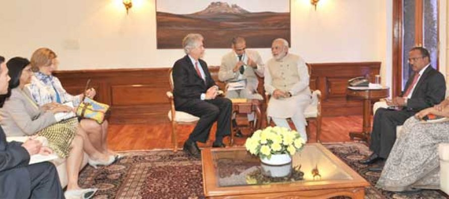 The US Deputy Secretary of State, William Burns calls on the Prime Minister, Narendra Modi, in New Delhi on July 11, 2014.