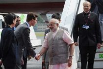 The Prime Minister, Shri Narendra Modi, arrived at Tegel Military Airport, Berlin, on his way to Brazil to attend the BRICS Summit.
