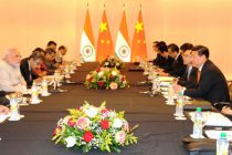 The Prime Minister, Narendra Modi at a bilateral meeting with the President of the People's Republic of China, Xi Jinping