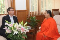 The High Commissioner of Australia in India, Patrick Suckling calls on the Union Minister for Water Resources, River Development and Ganga Rejuvenation, Sushri Uma Bharati