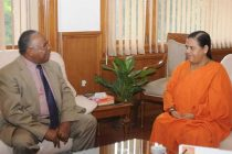 The Minister of water of Tanzania, Prof. Jumanne A. Maghembe calls on the Union Minister for Water Resources, River Development and Ganga Rejuvenation, Sushri Uma Bharati